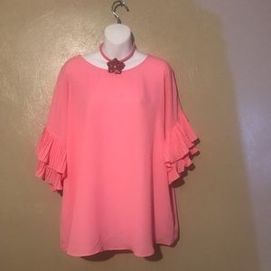 Cato pink blouse size 14/16W, polyester